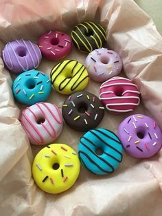 This 12 handmade polymer clay doughnut pattern weights is just one of the custom, handmade pieces you'll find in our fabric & notions shops. Polymer Clay Crafts, Handmade Polymer Clay, Polymer Clay Sweets, Delicious Donuts, Yummy Food, Boutique Patisserie, Kreative Desserts, Pattern Weights, Cute Donuts