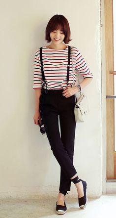 Cute stripes, suspenders & espadrilles