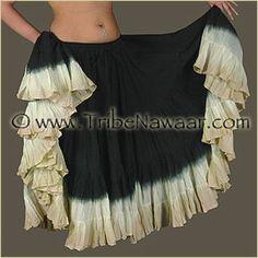 Tribe Nawaar Hand Dip Dyed 25 Yard Skirt Black Top Dream Tribal Belly Dance Skirt