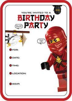 Lego Ninjago Birthday Invitations Printable