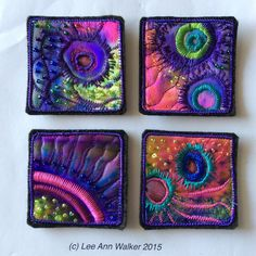 "Lee Ann Walker, 12-2"", 4/7/2015, experiment with Sharpie markers on poly- satin, machine stitching, beads.... holes. (Think hippie jellies)"