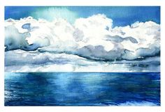 Ocean Clouds - Original Watercolor Painting