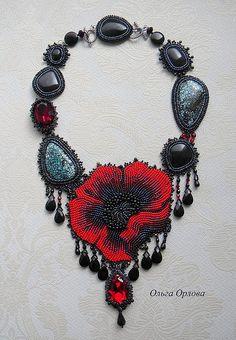 Колье, бусы ручной работы. Ярмарка Мастеров - ручная работа Мак и бирюза. Handmade. Bead Jewellery, Jewelry Art, Beaded Jewelry, Beaded Necklace, Necklaces, Bead Embroidery Jewelry, Beaded Embroidery, Diy Jewelry Unique, Vintage Jewelry