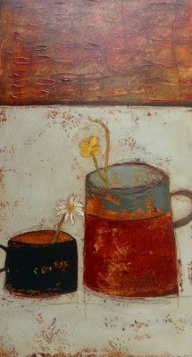 Irish Artist Anji ALLEN-Buttercups and Daisy >> Irish Art and Artists at Red Rag Gallery >> Born in Galway. >>  Familiar items such as scrubbed table top, milk jugs and tea cups are elevated and given a rarity value in Anji's paintings with her careful use of space and texture.