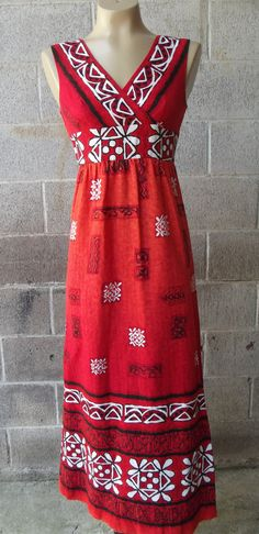 1970s Red Tiki Print Hawiian Dress by AUDREY of Hawaii, Size Small,   No.  21870