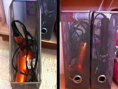 Desk file organizers turned into flat and curling iron storage