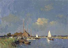 E. Seago, oil-Summer on the Norfolk Broads