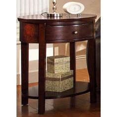 """HomeBelle 24"""" Wide Classic Espresso Oval Nightstand - #2J364 