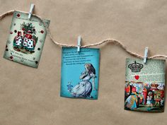 Alice In Wonderland Mini Bunting Garland - Cute Handmade Paper, Twine, Wooden Peg Banner -  Party Decoration, Home Decor - Vintage Style by CraftSuppliesnMore on Etsy https://www.etsy.com/listing/254103553/alice-in-wonderland-mini-bunting-garland