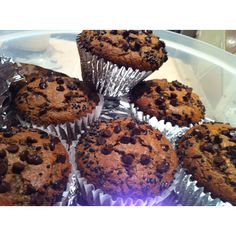 Chocolate Chip Muffins...I tried Nigella Lawson's recipe but I made 6 Big instead of a dozen small...
