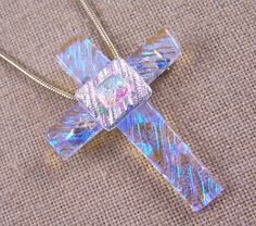Your place to buy and sell all things handmade Fused Glass Jewelry, Fused Glass Art, Dichroic Glass, Stained Glass, Glass Beads, Mediums Of Art, Pink Opal, How To Make Beads, Cross Pendant