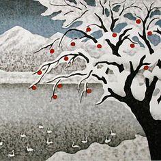 (Japan) Kazuyuki Ohtsu. Lakeside in Snow. woodblock prints