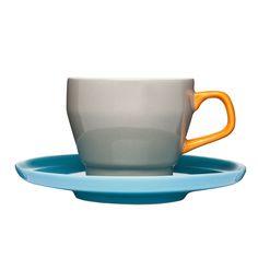 POP Kaffekopp med Skål, 25cl, Brun/Oransje/Turkis, Sagaform
