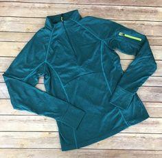 Mondetta Heathered Green Half Zip Thumb Hole Pullover Running Top Size M #MONDETTA #ShirtsTops