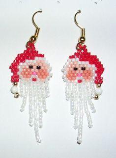 Christmas jewelry - Santa Claus beaded earrings