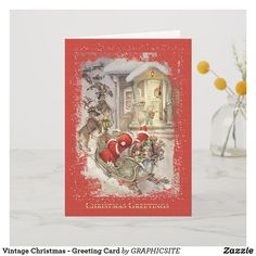 Shop Vintage Christmas - Greeting Card created by GRAPHICSITE. Vintage Greeting Cards, Birthday Greeting Cards, Christmas Greeting Cards, Christmas Greetings, Holiday Cards, Eve Children, Christmas Themes, Christmas Stuff, Christmas Eve