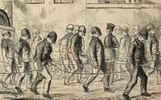 Convicts exercising at Pentonville Prison, 1862