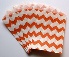 """Set of 10 Orange and White Chevron Design Middy Bitty Bags (5"""" x 7.5"""") - pinned by pin4etsy.com"""