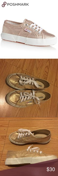 Gold Sneakers | Superga Gold sneakers that can be worn literally with any outfit! In great condition! FYI, this is a size 3.5 kids, but fits a 5.5 in women's. Superga Shoes Sneakers