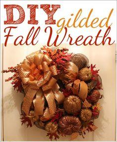 DIY gilded fall wreath