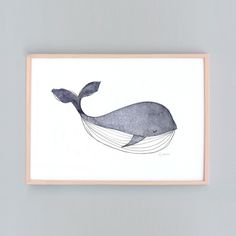 This is a whale art print created with watercolor overlays and various other mediums titled 'Baby Whale' Small -5x7' -A4 (21x29.7cm)...