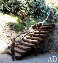 With a flair for the unconventional, singer Sheryl Crow decorates her own romantic Spanish Colonial house in the Hollywood Hills Garden Stairs, Garden Bridge, Rustic Staircase, Spanish Colonial Homes, Outdoor Stairs, Sheryl Crow, Diy Rustic Decor, Celebrity Houses, Stairways