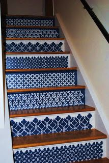 2 Women and a Paintbrush: Moroccan Stenciled Steps