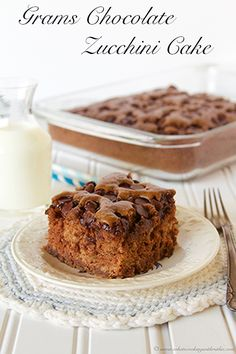 Grams Chocolate Zucchini Cake is a must have in the fall!  You will never even know it has zucchini in it! by www.whatscookingwithruthie.com #recipes #dessert #zucchini