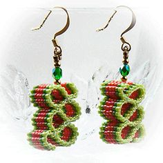 Ribbon Candy Earrings (2 Shades of Green and Orange) at Sova-Enterprises.com