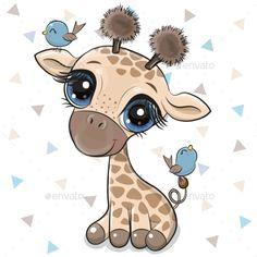 Cartoon Giraffe with Two Birds Cartoon Giraffe, Cute Cartoon Animals, Cute Baby Animals, Baby Animal Drawings, Cute Cartoon Drawings, Cute Drawings Of Animals, Cute Giraffe Drawing, Baby Cartoon Drawing, Baby Motiv