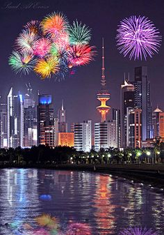 Kuwait City , Kuwait One of the few places where the local currency is worth more than a £ Places Around The World, Around The Worlds, Kuwait National Day, Fireworks Photography, Fireworks Photos, Diwali Wishes, Fire Works, Image Hd, City Lights