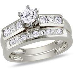 1 Carat T.W. Round and Princess Cut Diamond Bridal Set in 10kt White Gold