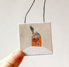 a snowy day / christmas ornament / tiny original painting on canvas. $16