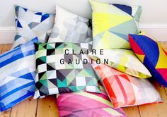 Bright, bold, graphic cushions from soo-uk.com  SOOuK - more info on designer Claire Gaudion on the blog.