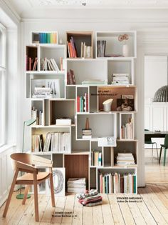 Scandinavian design - Muuto - Stacked shelf system designed by JDS Architects and Civer chair by Thomas Bentzen.