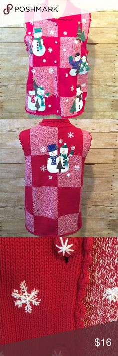 VTG Christmas Sweater Vest 3D Snowmen Tacky Ugly M Love the Christmas holiday and want everyone to know? Or maybe you have a party coming up that calls for tacky or ugly Christmas wear. With this adorable sweater vest, beauty is in the eye of the beholder. This vintage vest by Bechamel features a checkerboard print with stitched snowflakes, sewn snow buttons and 3D Embroidered snowman detailed with tiny knit scarves and little beads / bells on their hats. Buy it now! The holidays are coming…
