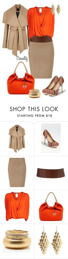 """""""Nude Pencil Skirt, Canvas Mk Bag, & Zigigirl Peacock Pump"""" by casuality ❤ liked on Polyvore featuring Ted Baker, ZIGIgirl, Blumarine, Plein Sud, MICHAEL Michael Kors, Forever New, Amrita Singh, pencil skirts, work and color"""