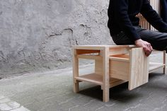 Made for the entrance hall of a typical Berlin flat, these mixed-use units are made to seat, take the shoes off and store them, as well as for hanging coats and storing other daily life accessories.They feature removable beech hooks fixed through wedges…