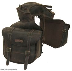Large Rear saddle bag with buckle and with pouch in Leather for western saddle Article B06