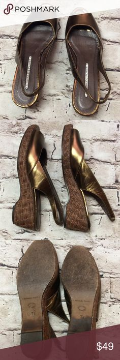 DONALD J. PLINER BRONZE WEDGE SANDALS/SHOES Pretty wedge heels with a woven heel and a beautiful bronze leather upper. Leather sole. These are in great condition with normal wear to the sole. They are a 7.5 narrow width, however I wear a normal width and these fit me. Ask if you'd like width measurement 😊 Donald J. Pliner Shoes Wedges