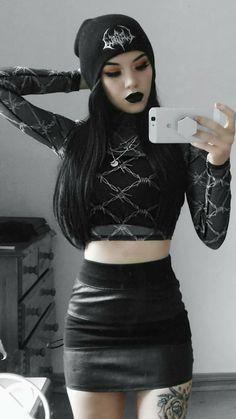Cheap Women Gothic Style Blouse T Shirt Tops Lace Insert Bell Swing Long Sleeve – Skull Head Gothic Girls, Hot Goth Girls, Sexy Hot Girls, Dark Fashion, Grunge Fashion, Gothic Fashion, Goth Beauty, Dark Beauty, Shopping Queen