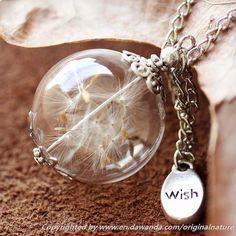 Dandelion Necklace, Nature Pendant,Wish Jewely