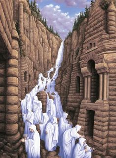 A waterfall of people. The Canadian painter, Robert Gonsalves' 'Magic Realism.' His works create optical illusions. Illusion Kunst, Illusion Art, Optical Illusion Paintings, Optical Illusions, Magic Illusions, Salvador Dali, Robert Gonsalves, Rene Magritte, Surrealism Painting