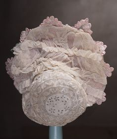"""Wonderful Antique French SIlkTulle Lace Dress and Bonnet for  Jumeau Bru Steiner Eden bebe doll about 25-26"""""""