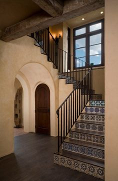 Beautiful Spanish tile staircase in hacienda style home. Stylish Western Home Decorating Hacienda Style Homes, Mediterranean Style Homes, Spanish Style Homes, Spanish House, Mediterranean Architecture, Spanish Tile, Spanish Colonial, Spanish Revival, Mission Style Homes