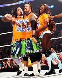 Jimmy USO w/Naomi & Jey USO when wrestle Fernando, Cesaro & Big E