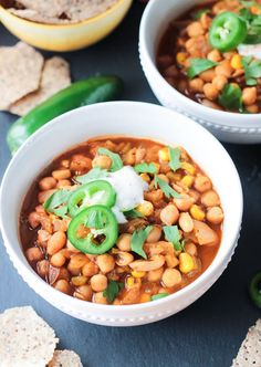 Chickpea White chili is a quick and easy vegan white bean chili perfect for any day of the week. Also great for parties! Kid approved too!
