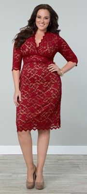 Plus Size Red Scalloped Lace Boudoir Dress