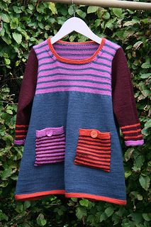 Ravelry: Striped Dress pattern by Debbie Bliss Kids Dress Patterns, Clothing Patterns, Striped Knit, Striped Dress, Knit Baby Dress, Dresses Kids Girl, Sweater Knitting Patterns, Knitting For Kids, Girls Sweaters
