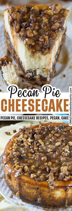 This luscious, creamy cheesecake with a caramel pecan pie topping will wow any crowd, making it perfect for any holiday dessert spread. #pecan #pie #cheesecake #thanksgiving Pecan Pie Cheesecake, Baked Cheesecake Recipe, Sweet Desserts, Just Desserts, Delicious Desserts, Holiday Desserts, Caramel Pecan Pie, Graham, Dessert Halloween